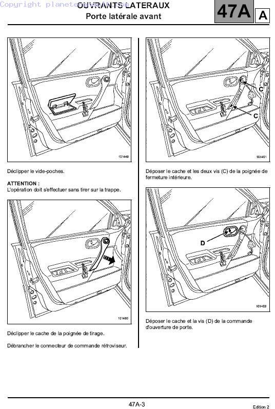 comment demonter panneau de porte megane 2