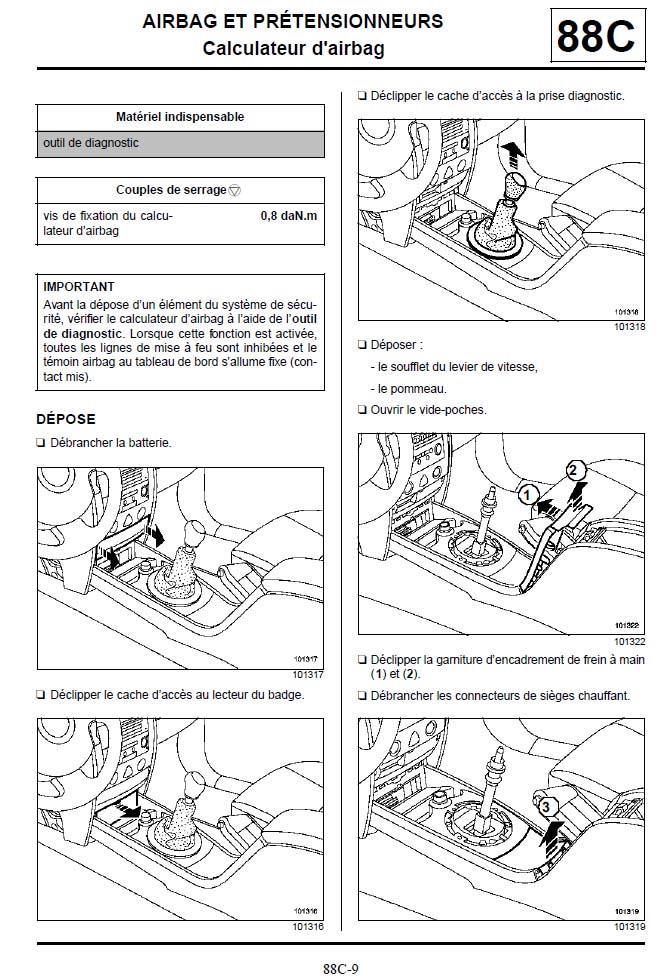 m gane ii o se trouve le boitier airbag pr tensionneur p0 plan te renault. Black Bedroom Furniture Sets. Home Design Ideas