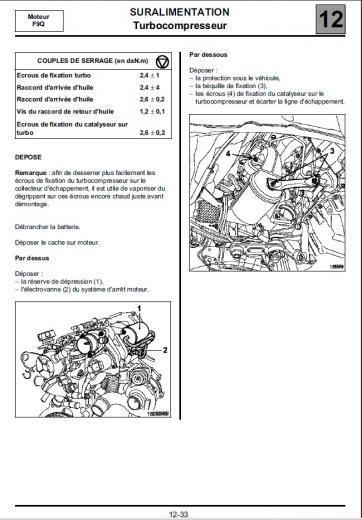 laguna ii  d u00e9pose turbocompresseur 1 9 dci 120cv  r u00e9gl u00e9