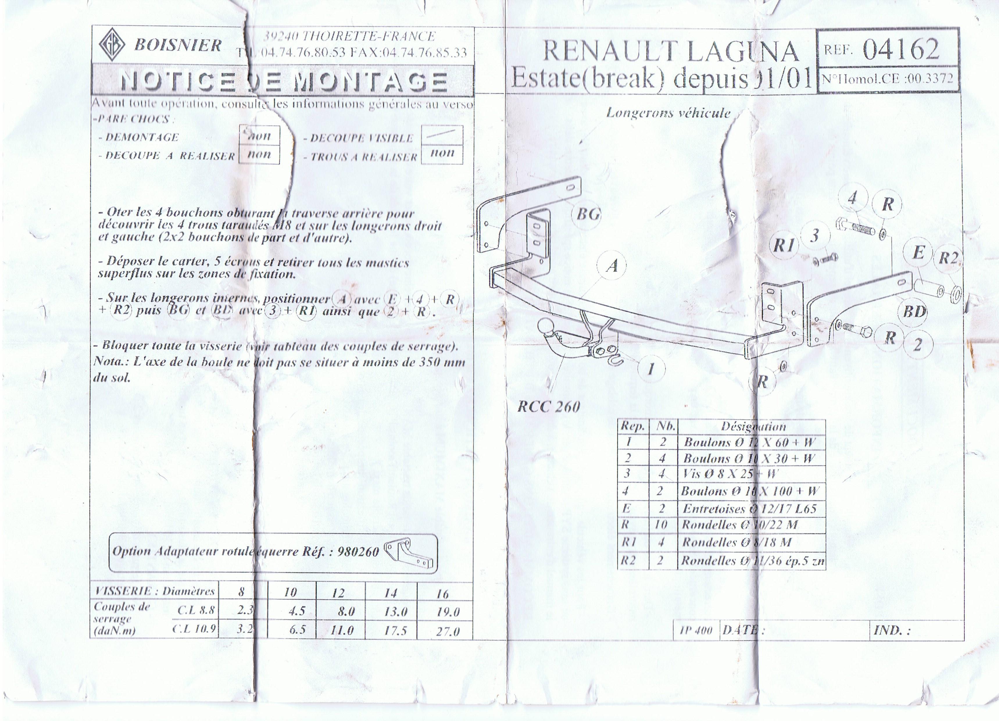 laguna ii estate montage attelage p0 plan te renault. Black Bedroom Furniture Sets. Home Design Ideas